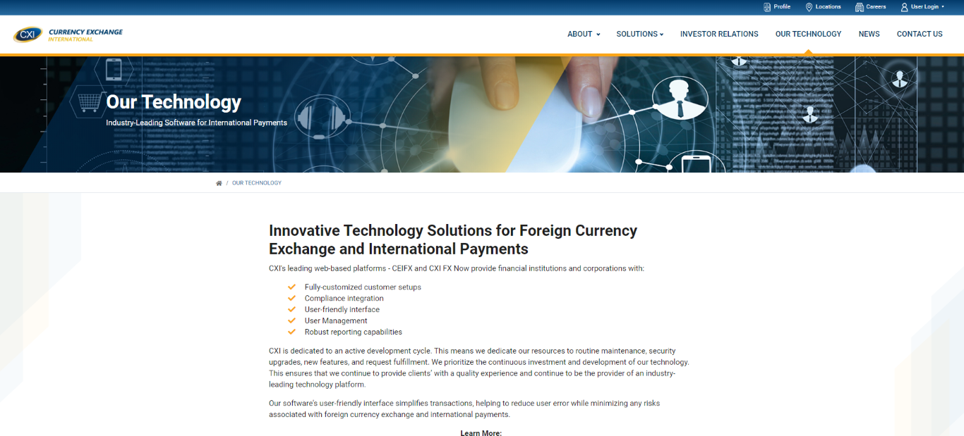Currency Exchange International Our Technology