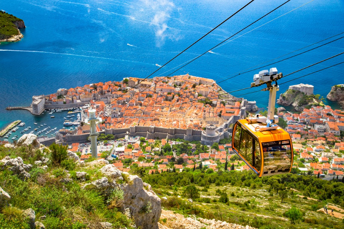 Old town of Dubrovnik Croatia with cable car ascending Srd mountain Dalmatia
