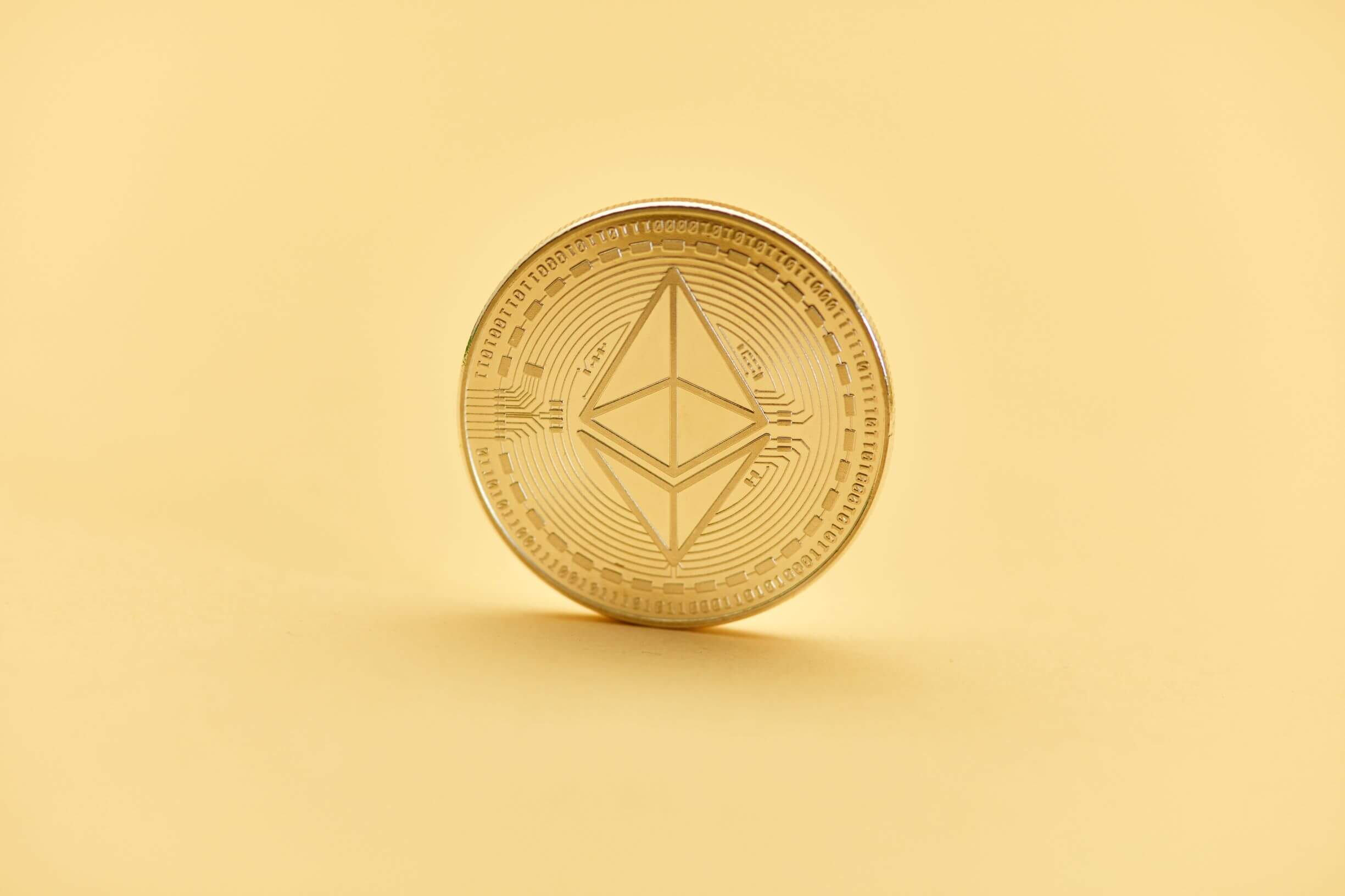 Ether crypto with yellow background
