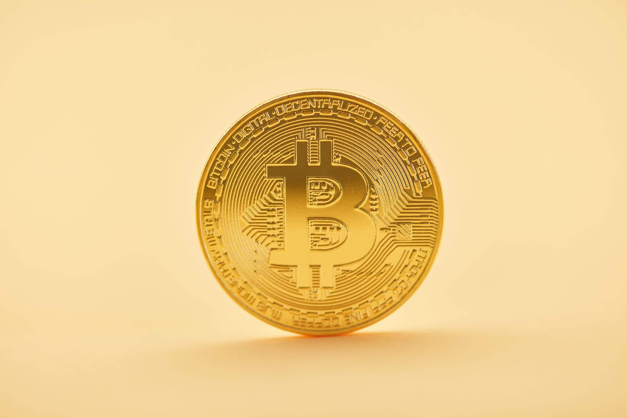 Bitcoin with yellow background