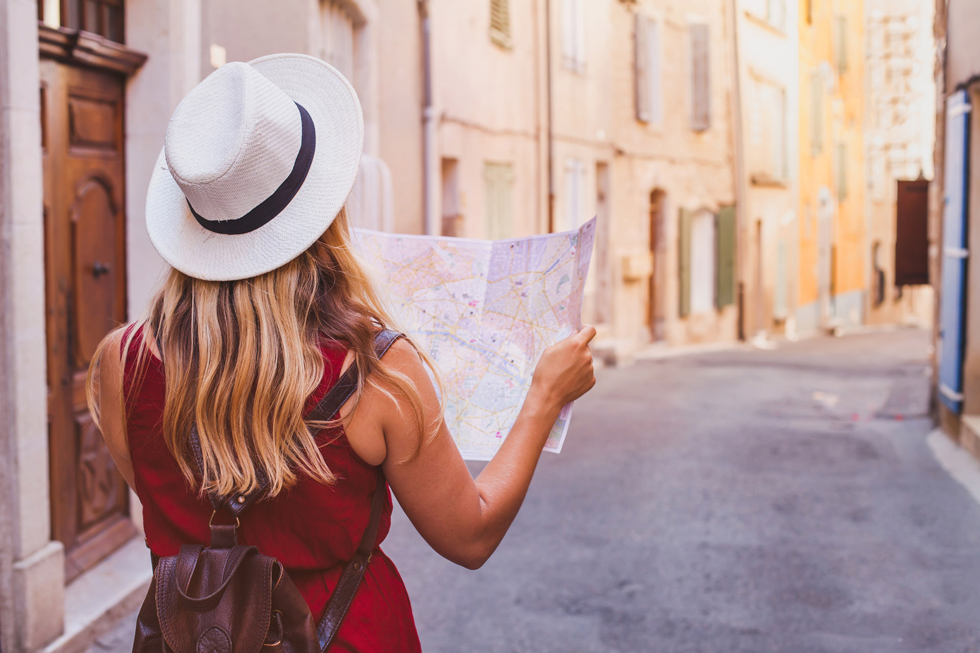 Woman traveler with map