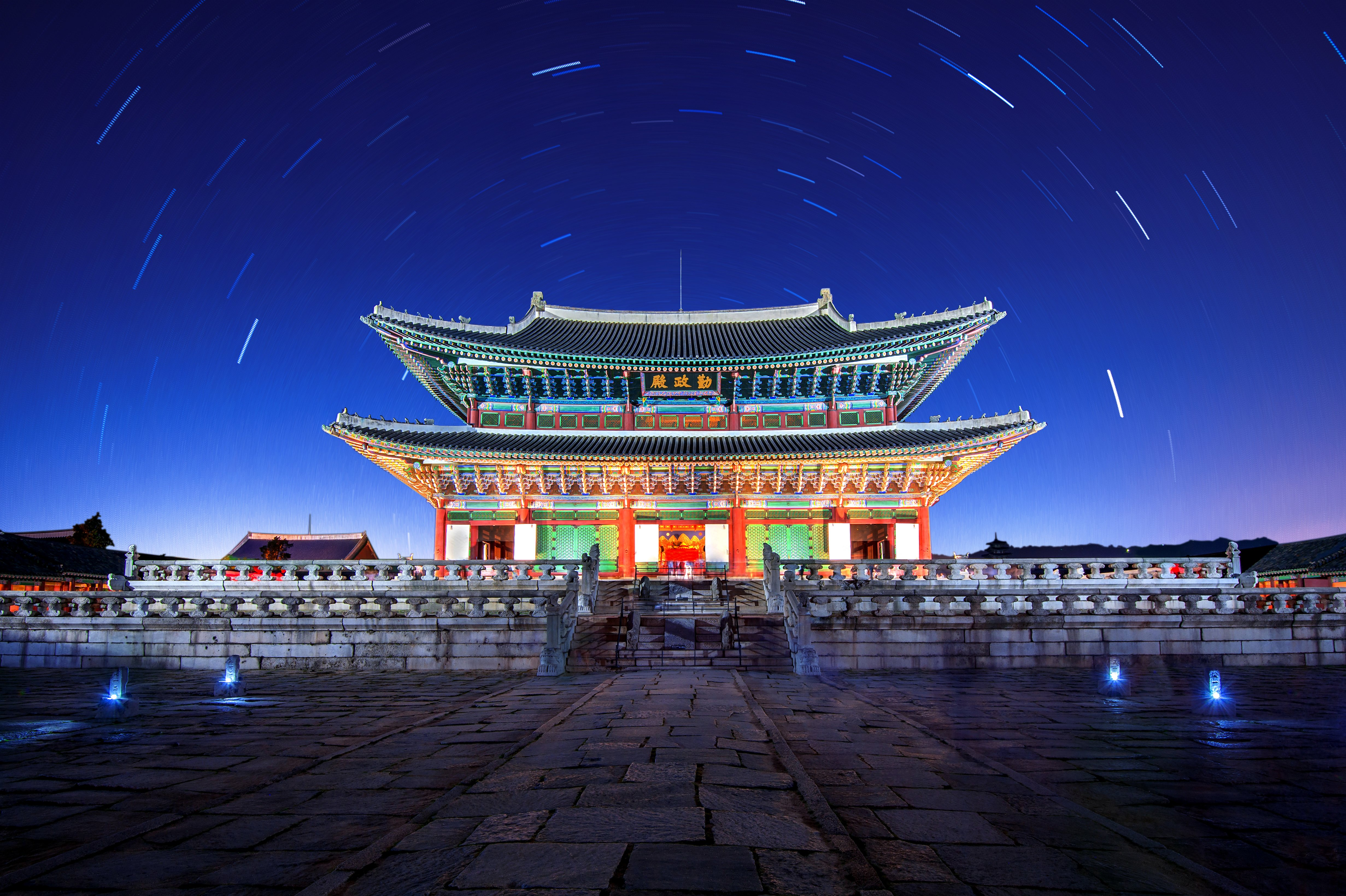 Gyeongbokgung Palace with Star trails at night in Seoul,Korea